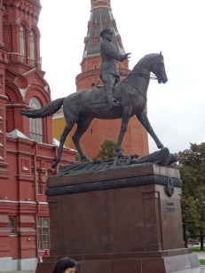 Victourious Russian field marshal - note the crushed Nazi standard under the horse's hoofs