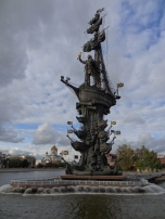 Monumental (in terms of size and ugliness) memorial for Peter the Great with Church of Christ the Savior in the background