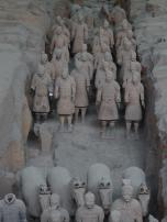 Terracotta Army - Pit 3 - Note that behind the horses a chariot was standing which rotted away long ago
