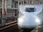 My first Shinkansen (type N700) bullet train arriving at the station.