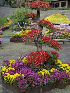 Flower art in famous Sengan-en Garden, Kagoshima.